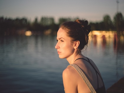 woman introspective stress